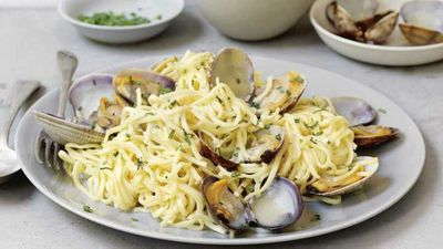 "Recipe:<a href=""http://kitchen.nine.com.au/2017/08/03/10/00/clam-and-tarragon-pasta"" target=""_top"">Clam and tarragon pasta</a>"