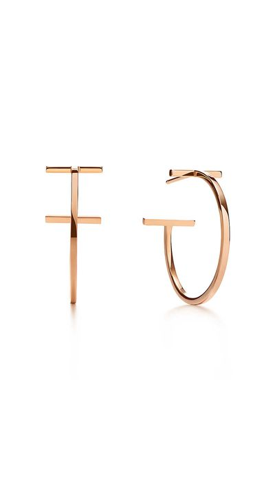 For nights out, these luxe earrings from the 'Tiffany T' collection will look great piled on with other, smaller rose gold hoops.