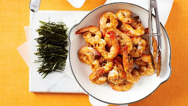 Ginger prawns and sushi rice salad