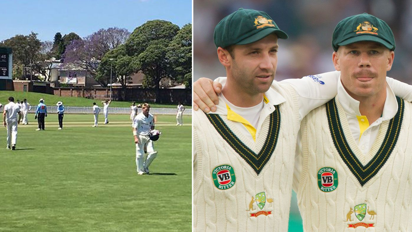 David Warner storms off mid-innings after receiving grade cricket sledge from Phillip Hughes' brother