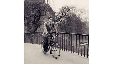 Prince Charles cycling at Cambridge, 1969