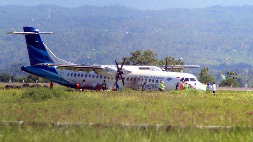 Garuda plane skids off runway on Indonesian holiday island