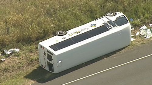 Those on board the bus were not seriously injured in the crash. (9NEWS)