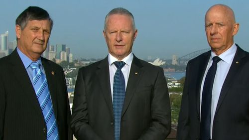 Former QFES commissioner Lee Johnson (left), former NSW Fire and Rescue Commissioner Greg Mullins (centre) and former Commissioner of ACT's emergency services Peter Dunn are certain climate change is linked to Australia's worsening bushfire seasons.