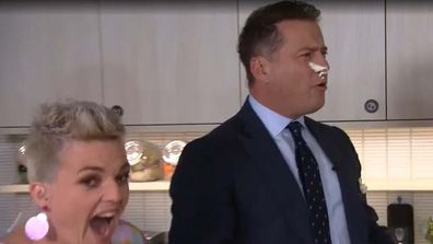 Karl gets cream in the face on Today Show