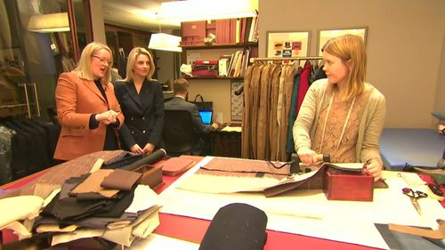 Kathryn Sargent is the first woman to set up shop in Savile Row since the 1700s. (9NEWS)