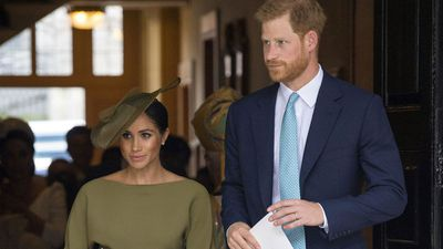 Prince Harry and Meghan Markle at Prince Louis' christening, July 2018