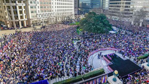 A crowd of 15,000 showed up to see Kamala Harris announce her presidential run in Oakland, California.