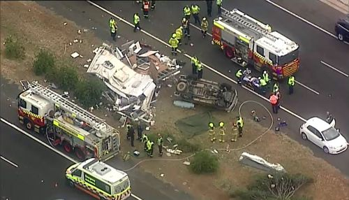 Sydney news Hume Highway crash car caravan