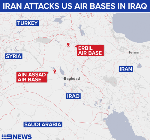 Iranian forces attacked Ain Assad Air Base in central Iraq and Erbil Air Base in Iraqi Kurdistan.