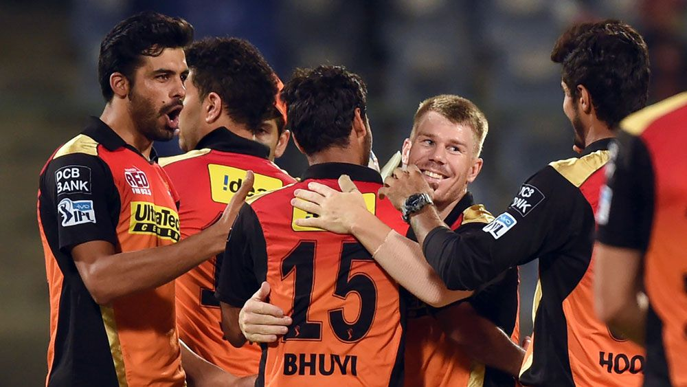 David Warner celebrates with his team. (AFP)