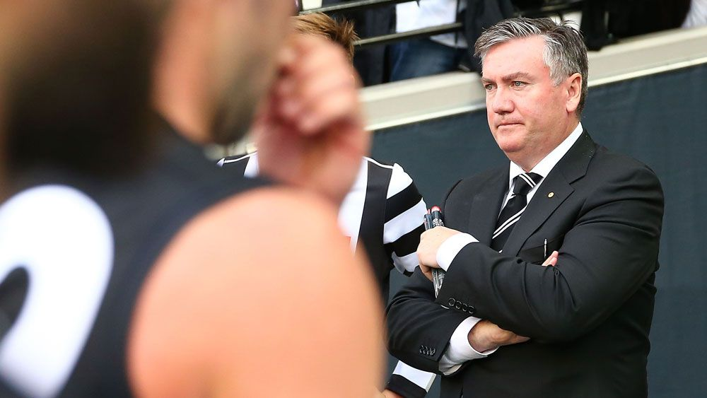 Eddie McGuire contemplates Collingwood's defeat as the Magpies leave the field against Carlton. (Getty)
