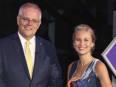 2021 Australian of the Year Grace Tame and Prime Minister Scott Morrison during the 2021 Australian of the Year Awards ceremony at the National Arboretum in Canberra on Monday 25 January 2021
