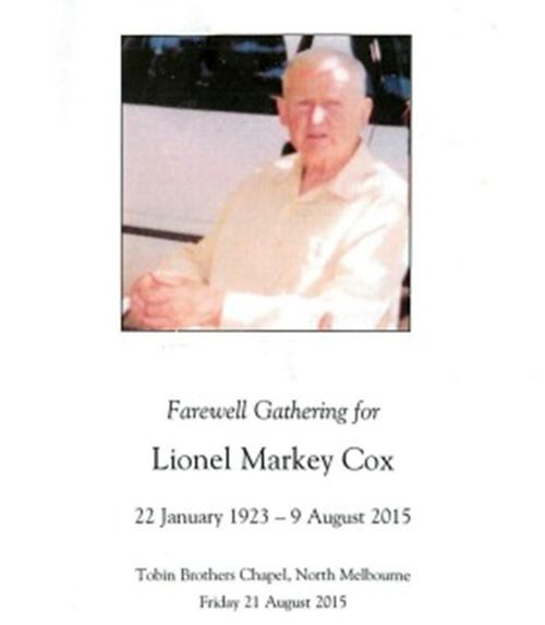Mr Cox's funeral booklet.