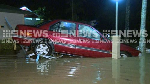 Forty-two stranded residents were rescued from the flooded caravan park. (9NEWS)