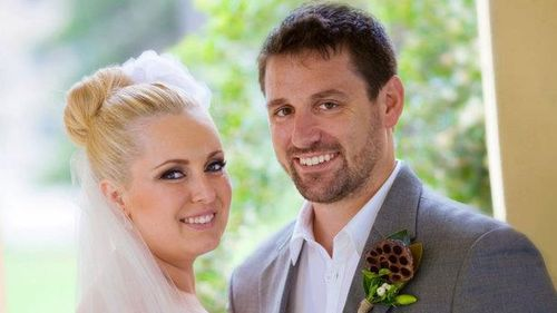 Bianka O'Brien and husband John on their wedding day (Supplied)