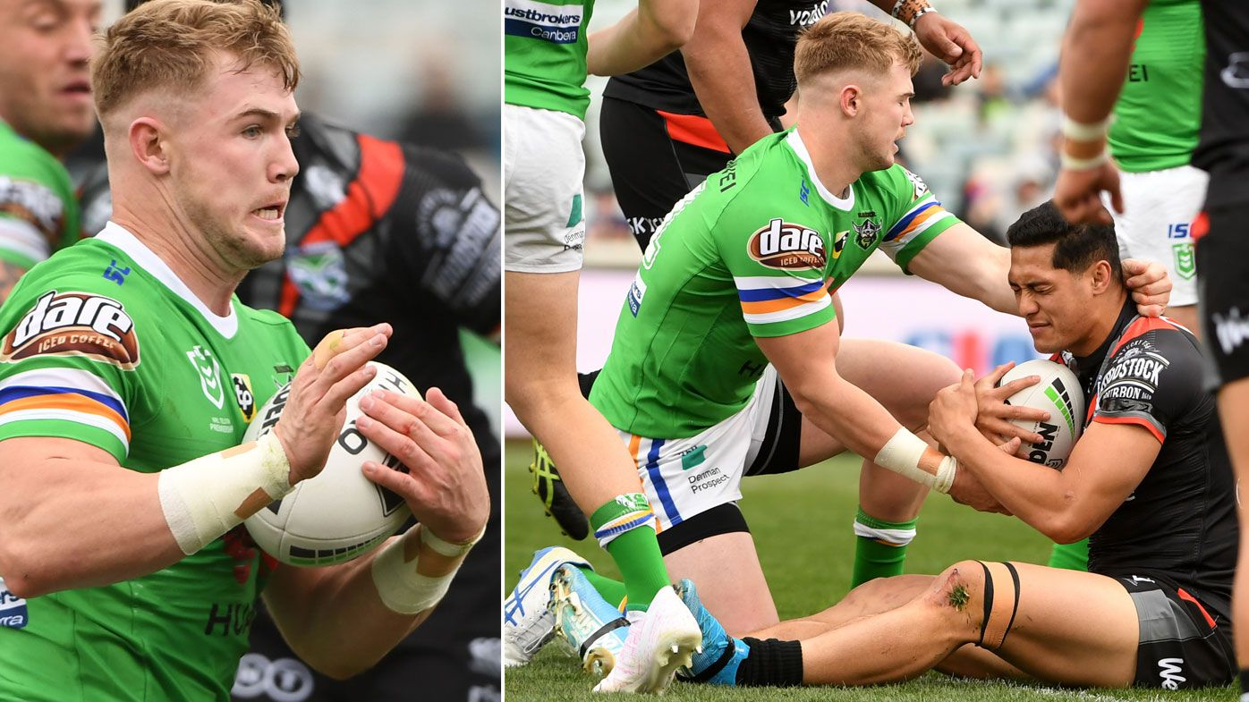 Canberra Raiders teammate's bizarre defence of 'eye gouger' Hudson Young