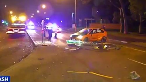 The Ford Focus lost control on Bell Street in Coburg just after 9pm.