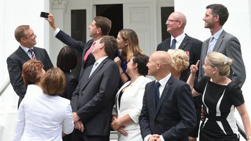 Newly-sworn in Queensland cabinet ministers pose for a selfie. (AAP)