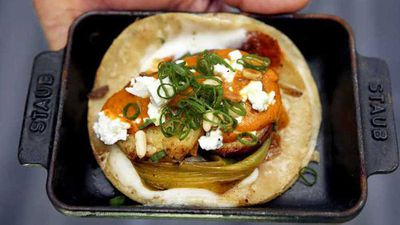 "Recipe:&nbsp;<a href=""http://kitchen.nine.com.au/2016/07/22/09/00/wes-avilas-guerrilla-sweet-potato-tacos"" target=""_top"" draggable=""false"">Wes Avila's sweet potato tacos with almond salsa</a>"