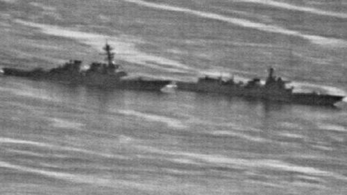 A US Navy photo obtained by the gCaptain website showing a confrontation between the USS Decatur (left) and PRC Warship 170 in the South China Sea last week. (Supplied)