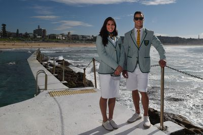 Sevens captains Charlotte Caslick and Ed Jenkins turned models for the morning.