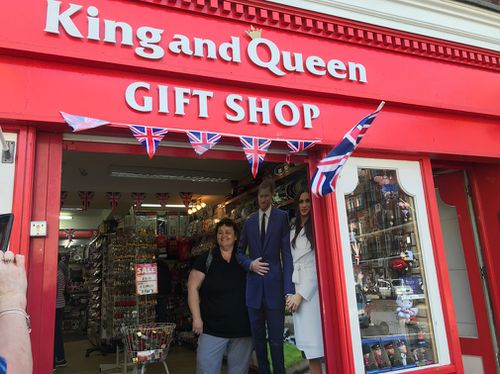 The King and Queen gift shop, which is opposite Windsor Castle, is doing a roaring trade during the leading up to the wedding. (Getty)
