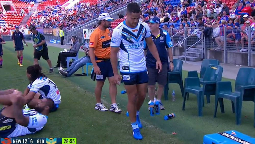 Gold Coast's Jarryd Hayne to miss a month after injuring ankle against Newcastle