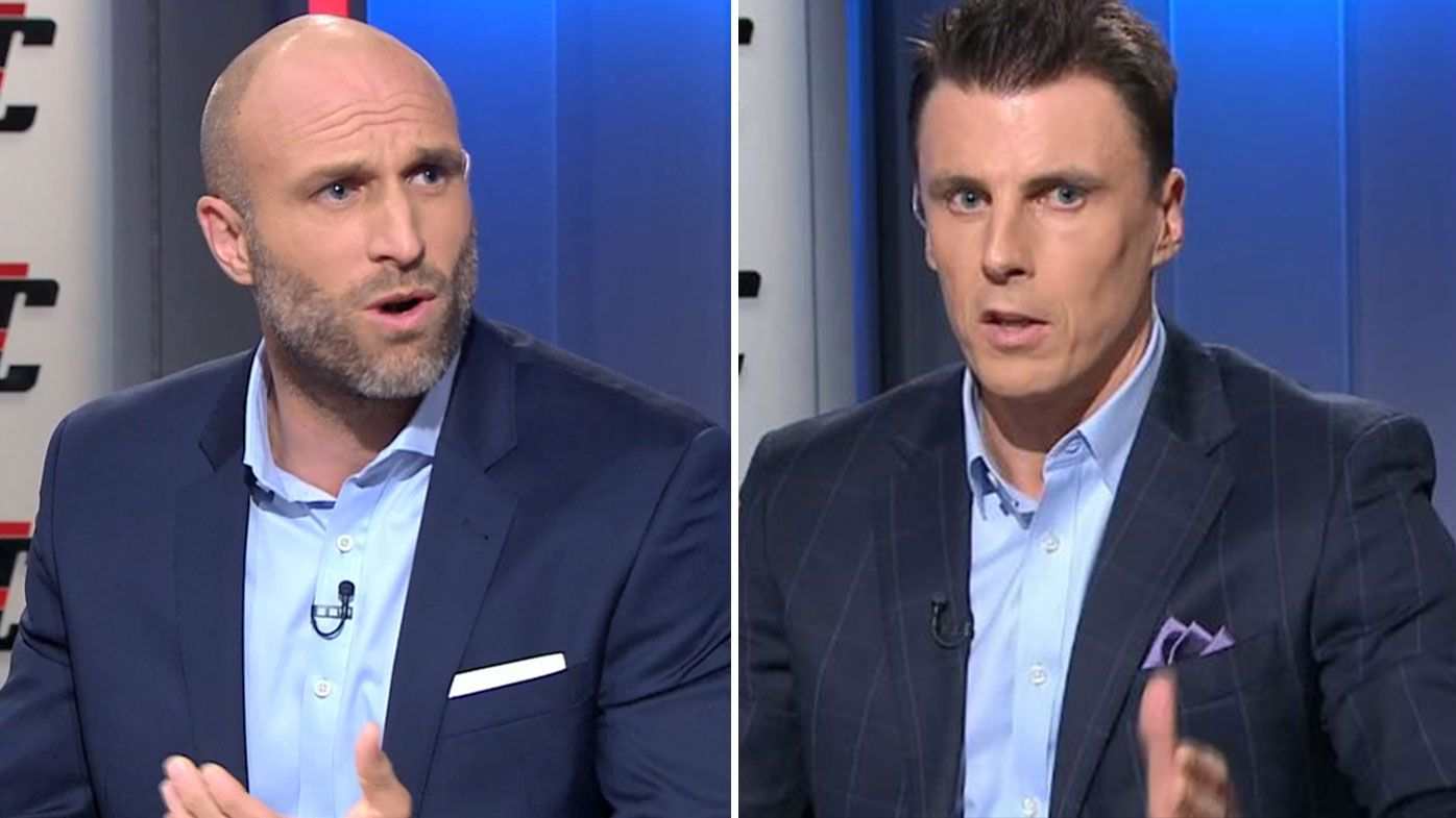 Chris Judd and Matthew Lloyd clash over Dustin Martin's crude gesture