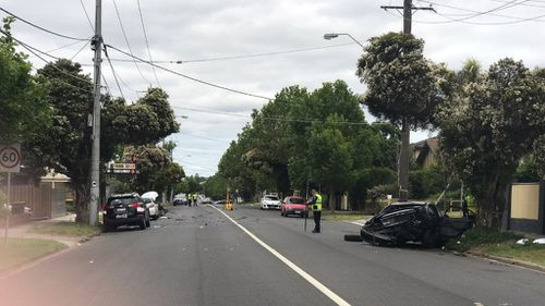The driver's three passengers suffered serious injuries in the crash. (9NEWS)