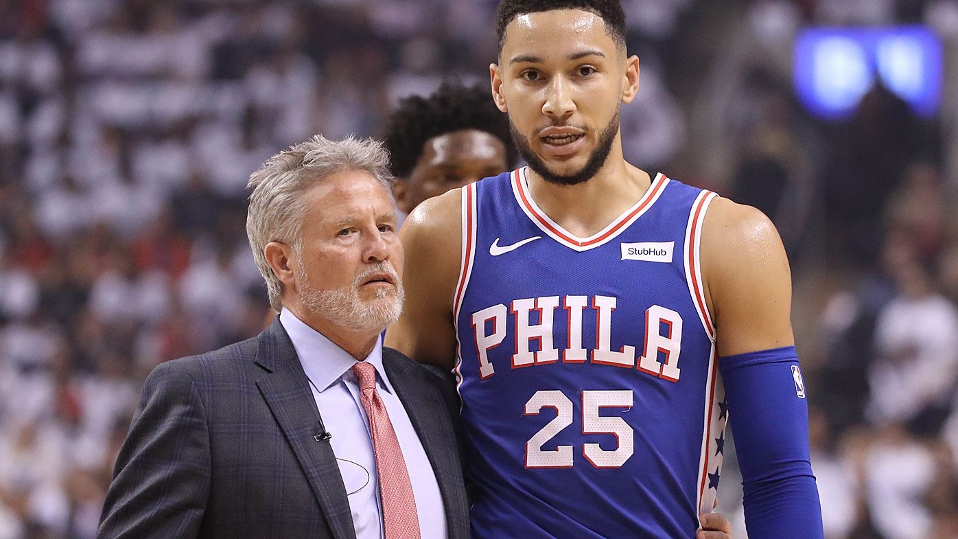 76ers coach Brett Brown and Ben Simmons
