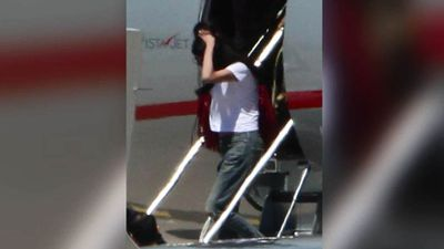High profile barrister Amal Clooney was dressed casually in jeans as she exited the jet.