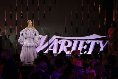 Honoree Katy Perry accepts an award onstage during Variety's Power of Women