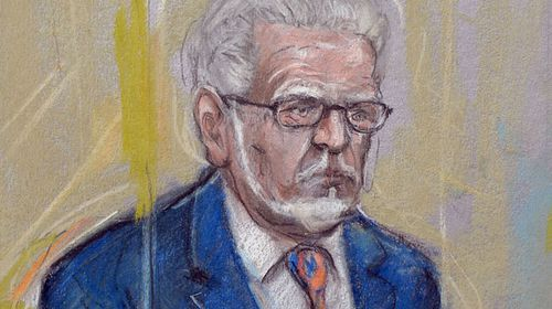 A courtroom sketch of Rolf Harris. (AAP)