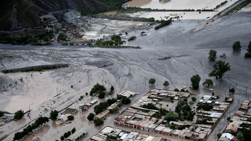 An aerial image of the landslide. (AFP)