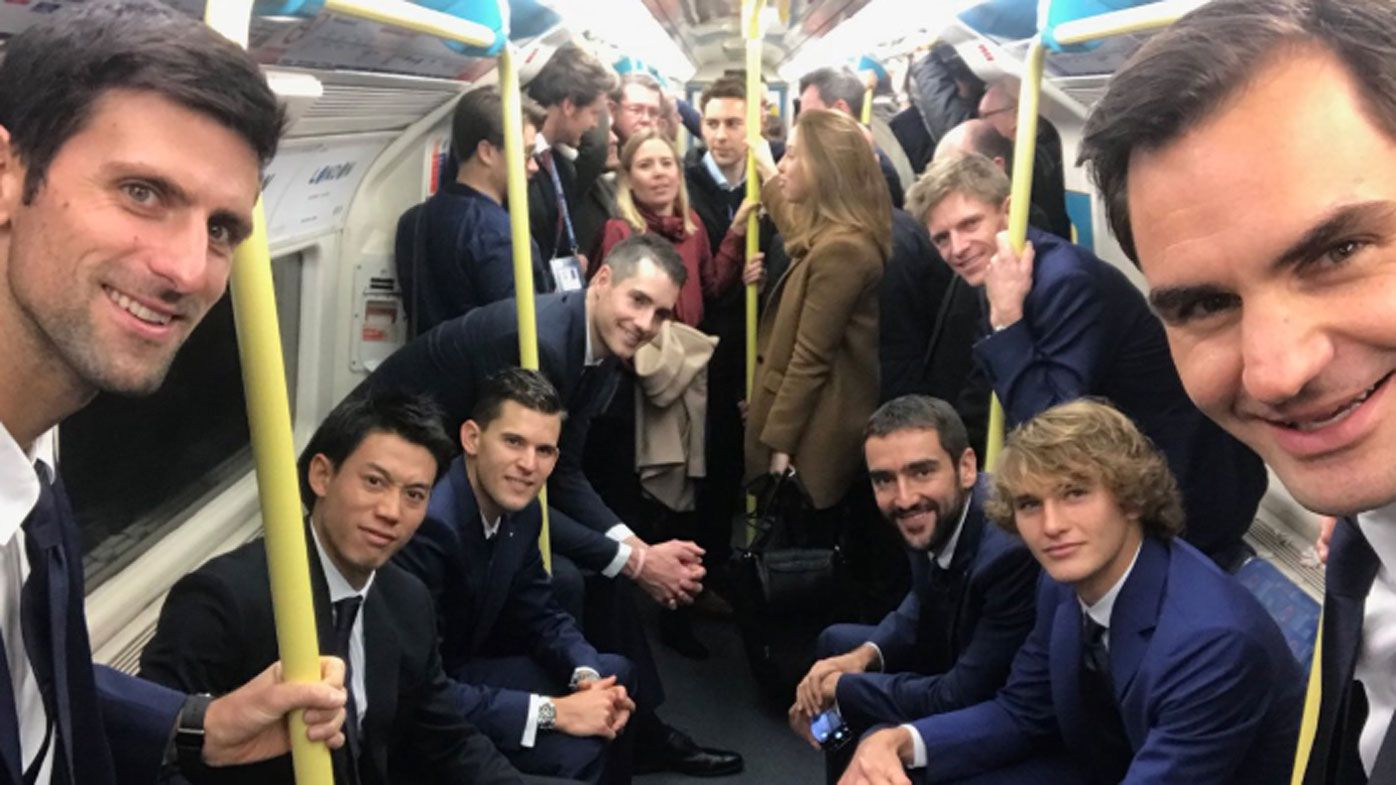 Amazing pic of Roger Federer, Novak Djokovic and company on London Tube