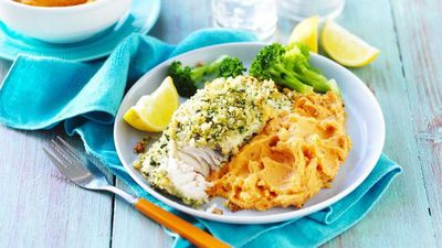 "<a href=""http://kitchen.nine.com.au/2017/05/26/15/04/lemon-and-herb-fish-with-sweet-potato-mash"" target=""_top"">Lemon and herb fish with sweet potato mash</a><br /> <br /> <a href=""http://kitchen.nine.com.au/2016/06/06/21/40/hook-into-these-succulent-seafood-dishes"" target=""_top"">More seafood</a>"