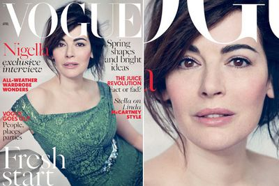 """The 54-year-old TV chef was widely reported to have gone """"makeup-free"""" for British <i>Vogue</i> (April 2014)... but we spot makeup!<br/><br/>Apparently she only wore a tiny bit of blusher and mascara... hmmmm. Did we hear someone say 'airbrushing'?"""