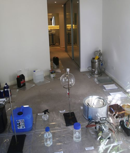 This ice lab in the Sydney suburb of Ryde was raided by police recently. (9NEWS)