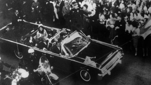 President John F. Kennedy's car in Dallas motorcade on November 22, 1963. (AAP)