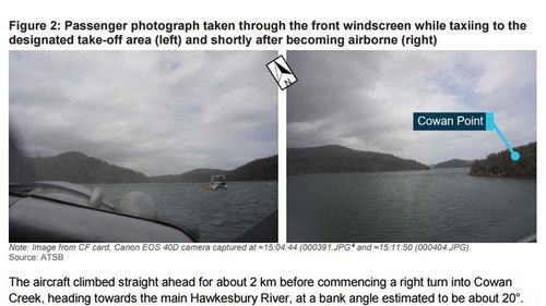Shots taken by one of the passengers from within the plane show critical landmarks on the Hawkesbury River.