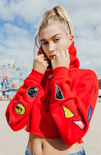 """Hailey Baldwin for <a href=""""https://kithnyc.com/pages/search-results-page?q=power+rangers"""" target=""""_blank"""">Kith</a> x Power Rangers"""