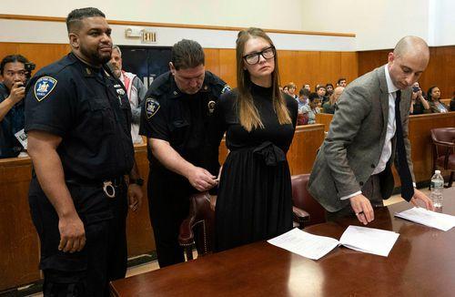 Anna Sorokin ahead of her lawyer Todd Spodek making his pre-sentencing statement.