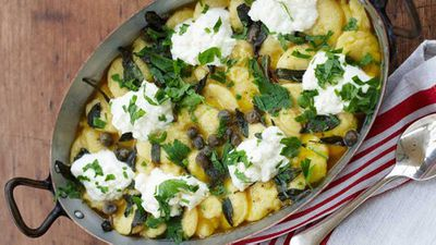 """Recipe:<a href=""""/2016/05/16/14/15/maggie-beers-semolina-gnocchi-with-capers-and-curd"""" target=""""_top"""">Maggie Beer's semolina gnocchi with capers and curd</a>"""