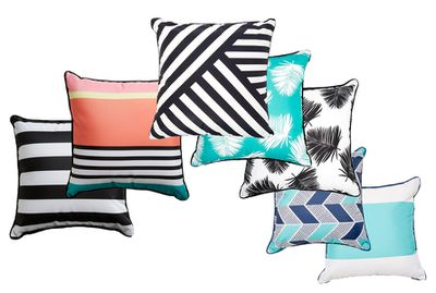 """Reversible cushions, variety of patterns $9-$10 <a href=""""http://www.kmart.com.au/category/home-&amp;-entertainment/features/indoor-outdoor-style/427503"""" target=""""_blank"""">Kmart</a>"""