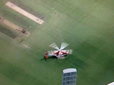 The rescue helicopter set down in the middle of the SCG. (Supplied)