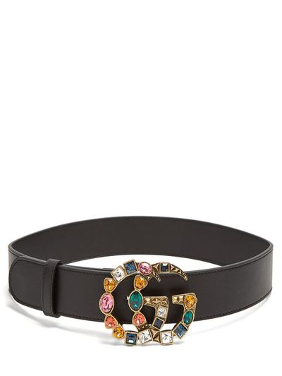 "<a href=""https://www.matchesfashion.com/au/products/Gucci-Crystal-embellished-GG-logo-4cm-leather-belt-1203385"" target=""_blank"">Gucci Crystal- Embellished GG-Logo 4cm Leather Belt, $805</a>"