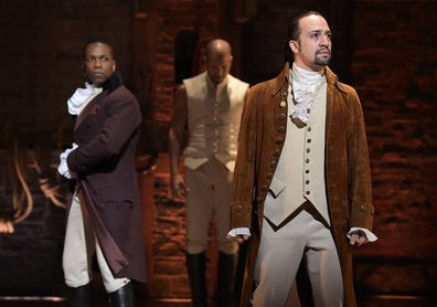 Leslie Odom, Jr., Lin-Manuel Miranda, perform, Hamilton, Broadway