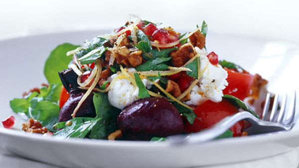 Roast beetroot and caramelised walnut salad with goat's curd, pomegranate and preserved lemon