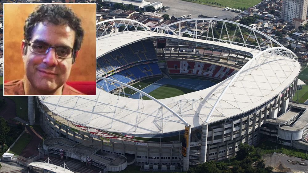 Rio Olympic Stadium and (inset) Dr Amir Attaran. (Getty and Supplied)